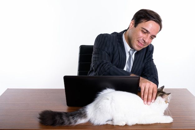 Студия выстрел молодого персидского бизнесмена трогательно милый кот