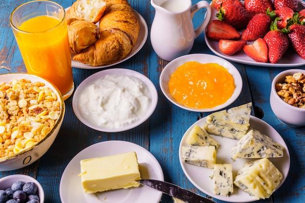 A studio shot of organic  morning breakfast, horizontal.