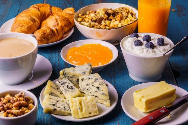 A studio shot of organic morning breakfast
