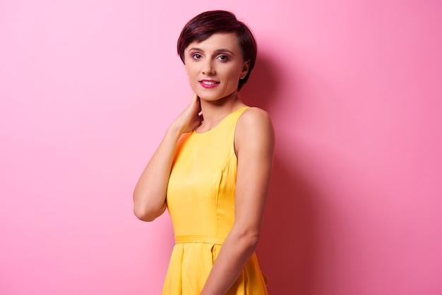 Studio shot of posing young woman
