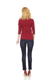 Studio shot of woman back view with casual clothes