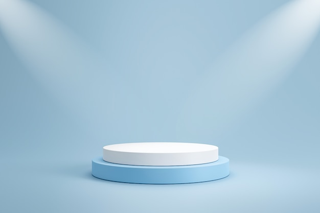 Studio template and white round shape pedestal on light blue wall with spotlight product shelf. blank studio podium for product advertising. 3d rendering.