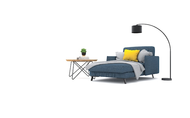 Studio with armchair and decorations. 3d rendering