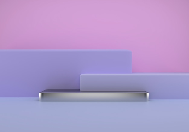 幾何学的な形、床の表彰台、製品プレゼンテーション用のプラットフォームを備えたスタジオ。