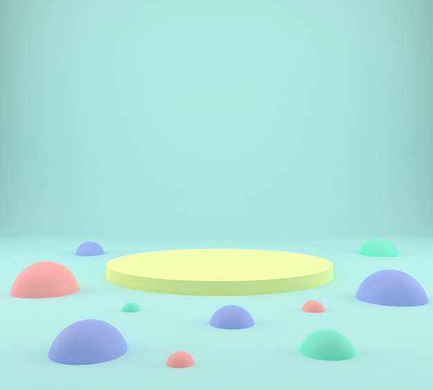 Studio with multicolored balls, podium on the floor, mock up background.