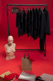 Studio with shopping things and mannequin