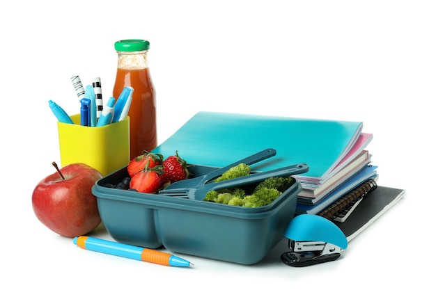 Study concept with lunch box isolated on white background