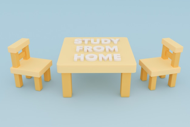 나무 테이블과 의자 3d 삽화가 있는 가정 학습 양식