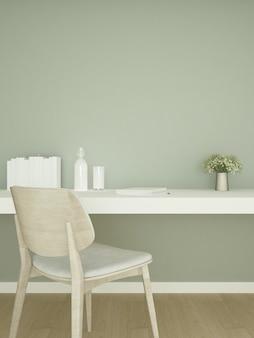 Кабинет и зеленая стена украшают произведения искусства