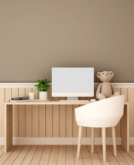 Study room and brown wall decorate for artwork