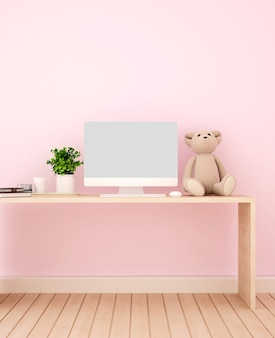 Study room and pink wall decorate for artwork