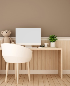 Study room or workplace and brown wall decorate in bedroom