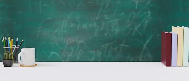 Учебный стол с книгой и канцелярскими принадлежностями зеленый фон доске обратно в школу 3d-рендеринг