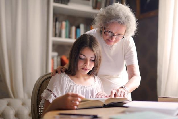 Studying with grandma