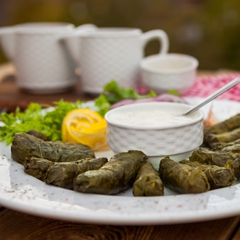 Stuffed grape leaves with decorations in a plate on wooden background, side view.
