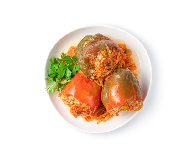 Stuffed peppers are isolated on a white background