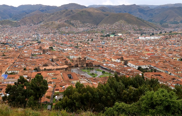 Stunning aerial view of plaza de armas and city center of cusco seen from sacsayhuaman citadel
