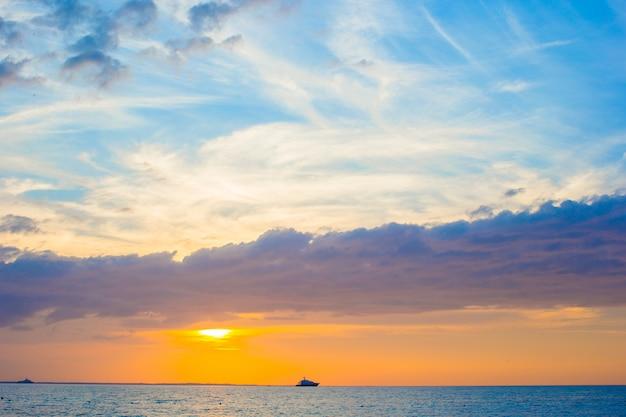 Stunning beautiful sunset on an exotic caribbean beach