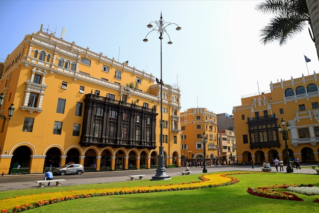 Stunning colonial buildings with beautiful garden on plaza mayor in lima of peru