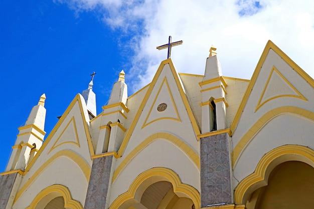 Stunning facade of the san juan bautista temple in puno, peru, south america