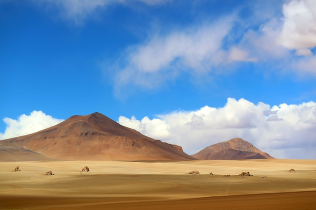 Stunning landscape of the salvador dali desert in eduardo avaroa andean fauna national reserve, sur lipez, bolivia