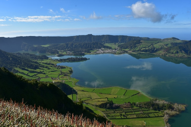 Stunning look down at the blue lake of sete cidades in the azores.