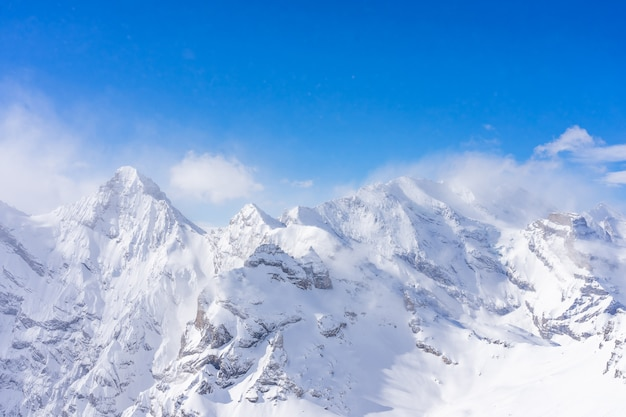 Stunning panoramic view of the swiss alps from the top of the schilthorn mountain in the jungfrau region of the country
