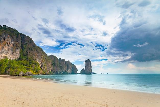Потрясающая сцена: известняковые скалы, покрытые растительностью, и берег океана на пасмурном фоне.