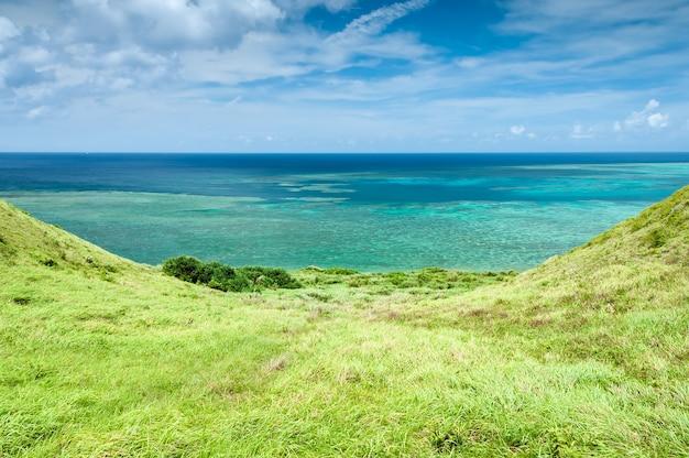 草の薄緑と調和するターコイズからターコイズのグラデーションのエメラルドグリーンの見事な海