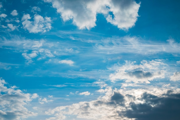 Stunning sky and different light clouds background.