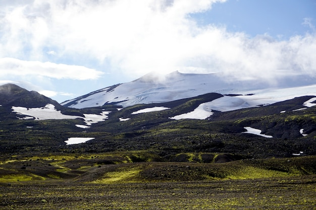 Stunning view from the road through snaefellsjokull national park in snaefellsnes peninsula in western iceland. Premium Photo