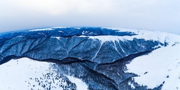スキーリゾートの曇りの冬の日に雪と木々に覆われた崖の見事な景色。過酷な北部の国での休日のコンセプト。 copyspce