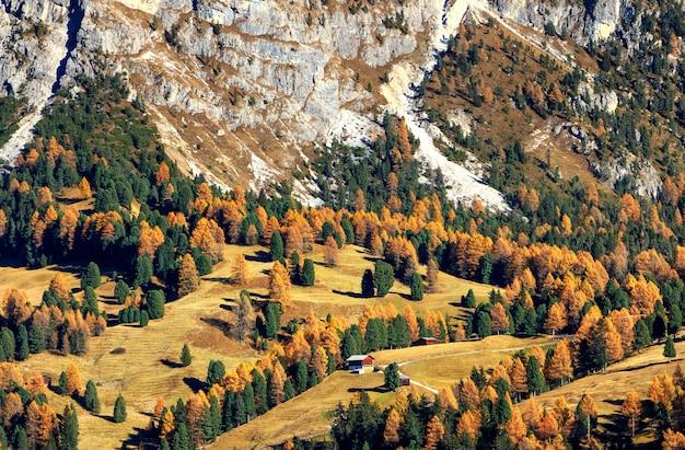 秋のアルプス渓谷と小さな木造住宅の素晴らしい景色