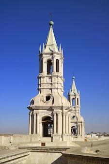 Stunning white stone bell tower