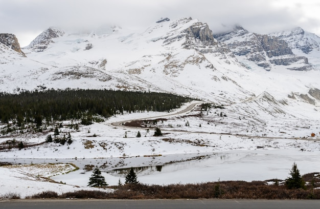 Stunning winter view  of columbia icefield in jasper national park, alberta, canada