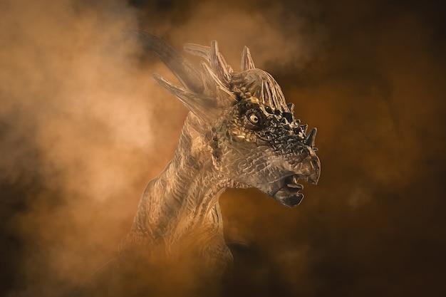 煙の背景にstygimoloch恐竜 Premium写真