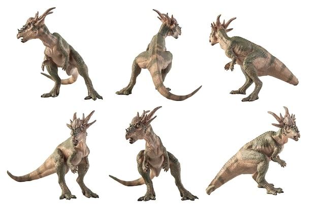 Stygimoloch dinosaur on white background .