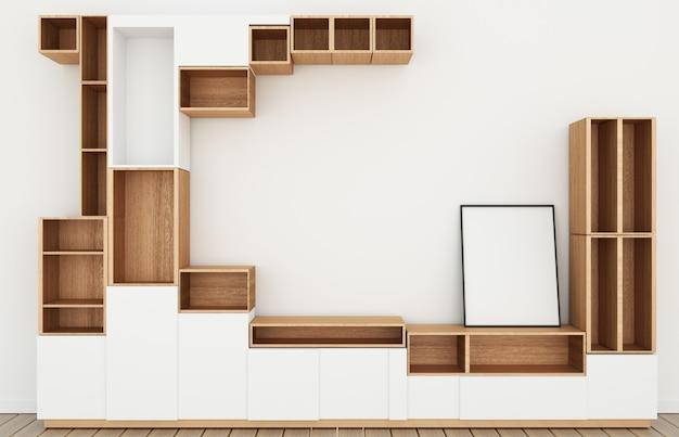 モダンな空の部屋、白い壁の部屋和風style.3 dレンダリングに木製の白い床のキャビネットデザインモックアップ