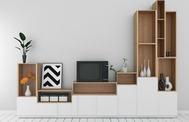 モダンな空の部屋、白い壁の部屋和風style.3dレンダリングに木製の白い床のキャビネットモックアップ