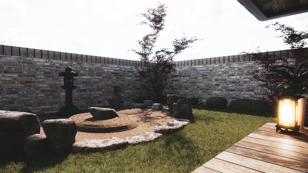 Японский сад тропический дизайн экстерьера япония style.3d рендеринг