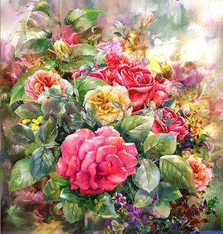 バラの水彩画style.digital絵画の花束