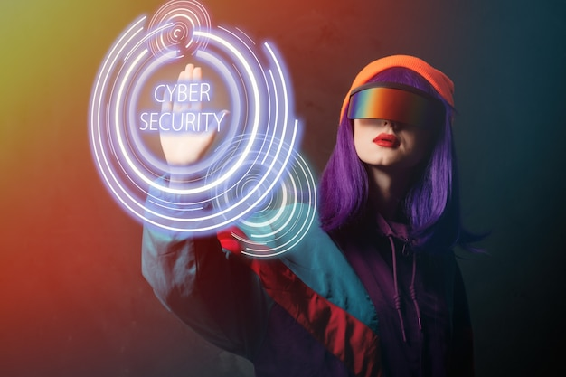 Style hacker woman in vr glasses is hacking