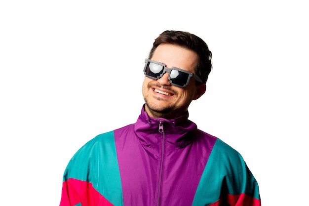 Style man in tracksuit and sunglasses