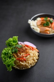 The style still life with noodles in the bowl