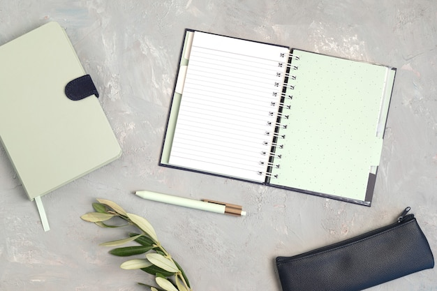 Styled minimal desktop mockup with organic color stationary