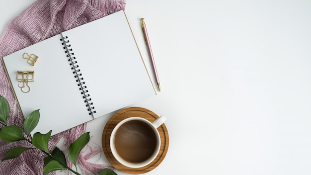 Styled stock photography white office desk table with blank notebook and coffee cup.