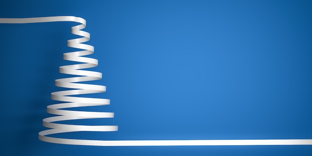 Styled white ribbon serpentine christmas tree on blue background with