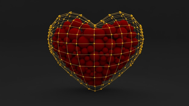 Stylish abstract black background with a heart filled with red balls and design.