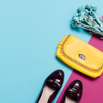 Stylish accessories lady. fashion autumn season shoes and clutch.