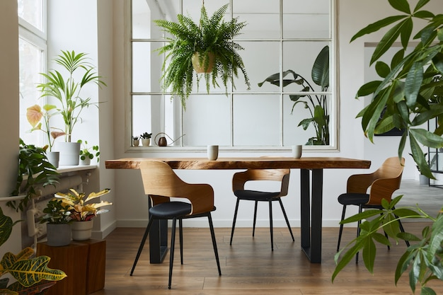デザインクラフトの木製テーブル、椅子、たくさんの植物、大きな窓、ポスターマップ、モダンな家の装飾のエレガントなアクセサリーを備えたダイニングルームのスタイリッシュで植物学のインテリア。テンプレート。